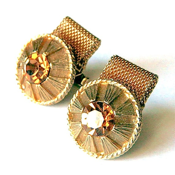 Cuff Links Tie Tack Vintage 1970s Gold Plated Mesh Wrap Green Malachite Square Mens Costume Jewelry Set