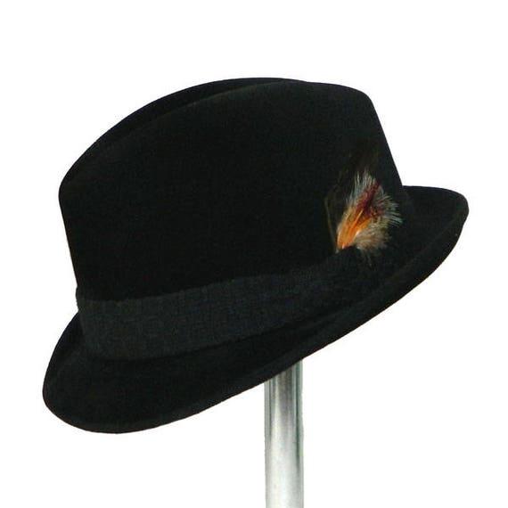2652b333d5624 Vintage 1960 s Black Fedora Hat by Dobbs Size 7 1 8