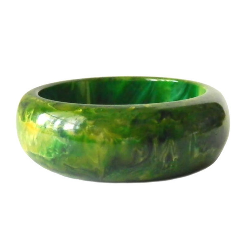 Vintage Spinach Green Bakelite Bangle Bracelet