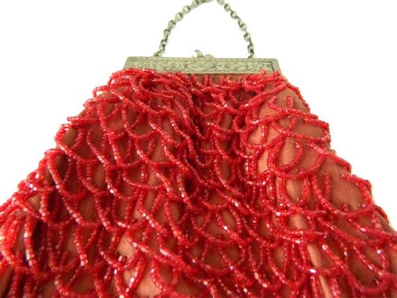 Antique Red Beaded Handbag