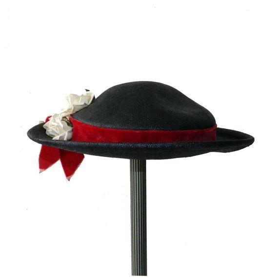 Vintage 1950's Navy Blue Straw Hat