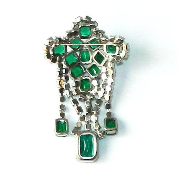 Vintage 1950's Green Rhinestone Dangle Brooch - image 4