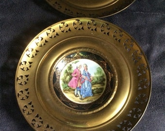 25%offJuneSale Pair of Regency Bone China Brass Plate Wall Hangings marked Made in England Featuring Victorian England Scenes