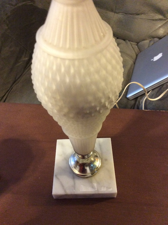 White Milk Glass Table Lamp Desk Lamp Night Light Reading Etsy