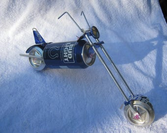 choise of NFL kickoff can Recycled aluminum Bud Light can chopper motorcycle