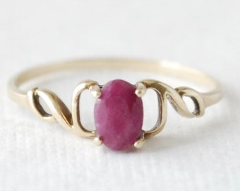 Delicate Ruby Pink Gemstone and 10K Yellow Gold Ring - Ring Stack - Minimalist - Simple - Purity Ring - Size 8