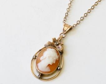 VIntage 10K Rosy Yellow Gold Cameo Necklace - Carved Shell - Woman Silhouette - Floating Center