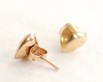 Dainty 14K Yellow Gold Puffed Heart Earrings - Stud - Minimalist - Simple - Love - Hearts - Gift For Her - Vintage Studs - Solid Gold