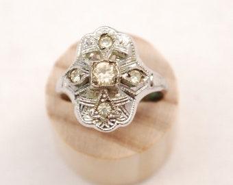 Sliver Art Deco Multi Stone Ring - Cocktail Ring - Wedding Ring - Engagement Ring - 5 Paste Stone - Diamond - For Her - Gift  - 1920's 30's