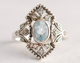 Graceful Sterling Silver Aquamarine and Fire Opal Ring - Openwork Setting - Victorian - BoHo - Statement Ring