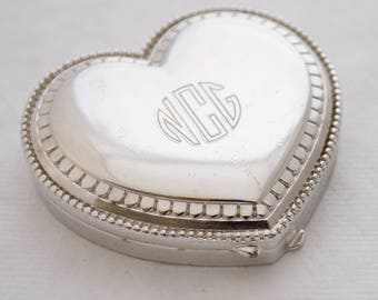 VIntage Estee Lauder Solid Perfume - Monogrammed - NCG - Silver - Heart