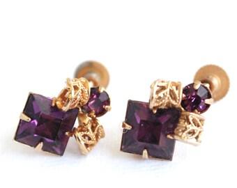 Purple Vintage Rhinestone Screw Back Earrings - Filigree - Gold and Purple - Royal - 1930's - Art Deco