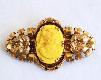 Vintage Bright Yellow Cameo Brooch - Art Deco - Yellow Glass - Gold Setting - Statement Piece - Unusual - Jewelry - Pin - Glass Cameo