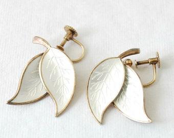 MEKA White Enamel & Sterling Earrings - Screw Back - Denmark - Vintage Sterling Silver - Screw Back - Dangle Leaf - Leaves