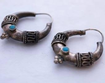 Vintage Sterling Silver and Blue Stone Earrings - Boho - Hoop - Tribal