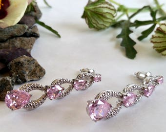 Pink Ice & Sterling Teardrop Cascade Drop Dangle Earrings
