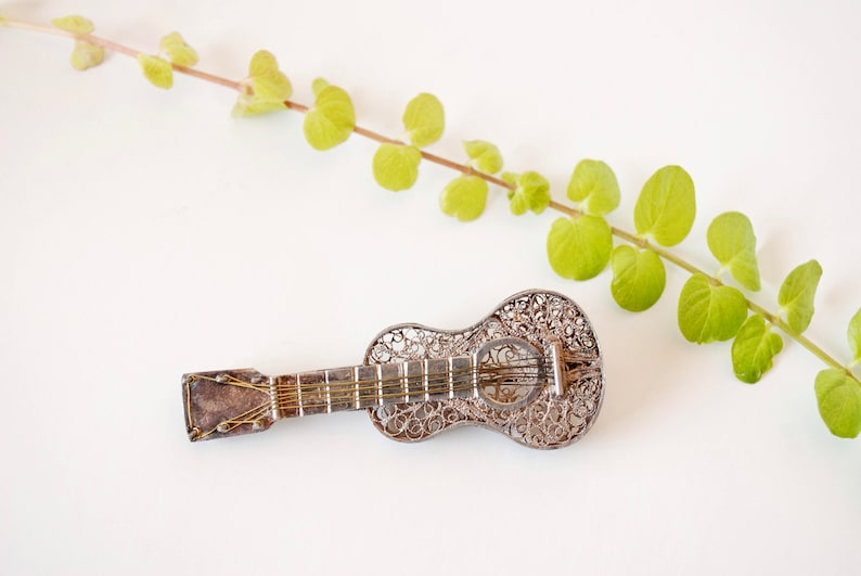 Filigree Guitar Brooch Music 6 String Silver Wire Work Musical Instrument Classical Guitar