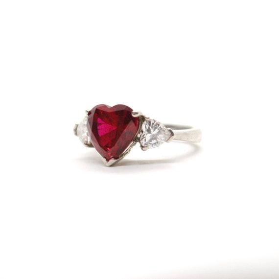 nuovo arrivo 33ec7 c5344 Anello di pietra di grande cuore rosso argento gioiello | Etsy