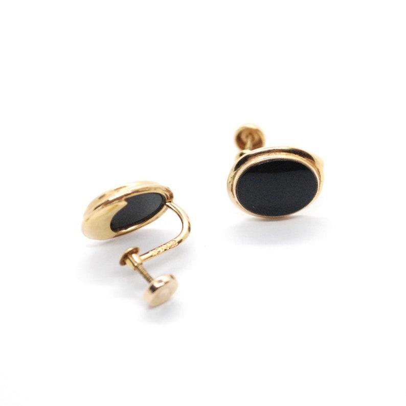 9dc9f879f Vintage 10K Gold & Onyx Screw Back Earrings Oval Clip On | Etsy