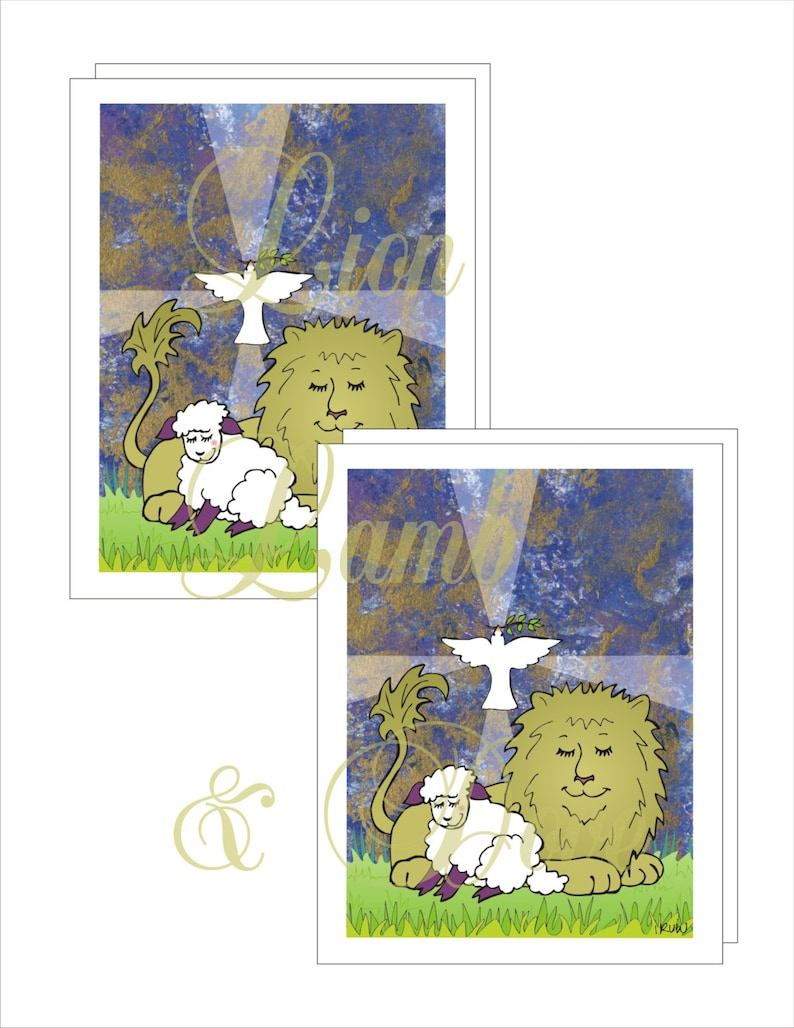 Lion Lamb and Dove Note Cards with Printable Envelope image 0