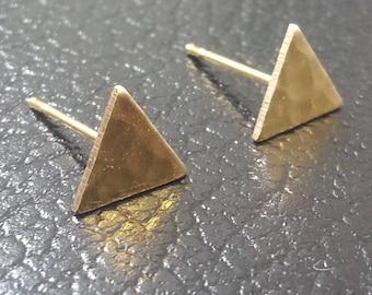 Triangle Earrings - Brass Earrings - Triangle Stud Earrings - Tiny Earrings - Minimalist Jewellery