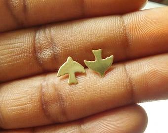 Sparrow Earrings - Bird Earrings - Brass Earrings -Stud Earrings - Tiny Earrings - Minimalist Jewellery