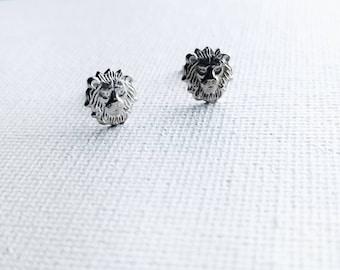 Lion Head Earrings - Lion Head Studs - Lion Earrings - Lion Studs