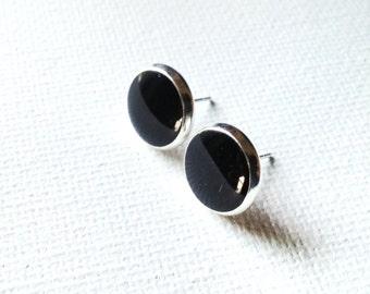 Black Earrings, Black Studs, Black Posts, Black Stud Earrings, 10mm Earrings
