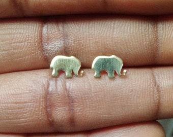 Elephant Earrings - Brass Earrings - Elephant Stud Earrings - Tiny Earrings - Minimalist Jewellery