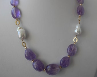 Pink Amethyst cabochon necklace accented with baroque pearls and gold links