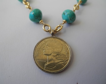 Sleeping Beauty Turquoise necklace with vintage French coin pendant