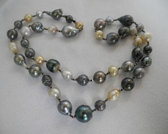 Tahitian pearls necklace with pyrite accents