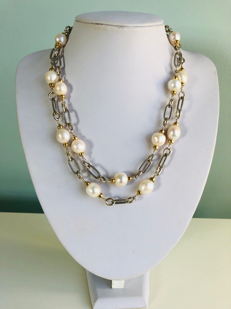 Timeless silver and gold pearl station necklace image 0