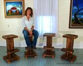 Barstools Set of Three Handmade From Reclaimed Cypress Mississippi Original