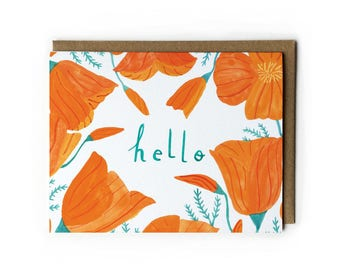 Watercolor Flower Painting Greeting Card, Thinking of You Card, Blank Cards with Envelopes, California Poppy Art, A2, 4.25 x 5.5, Orange