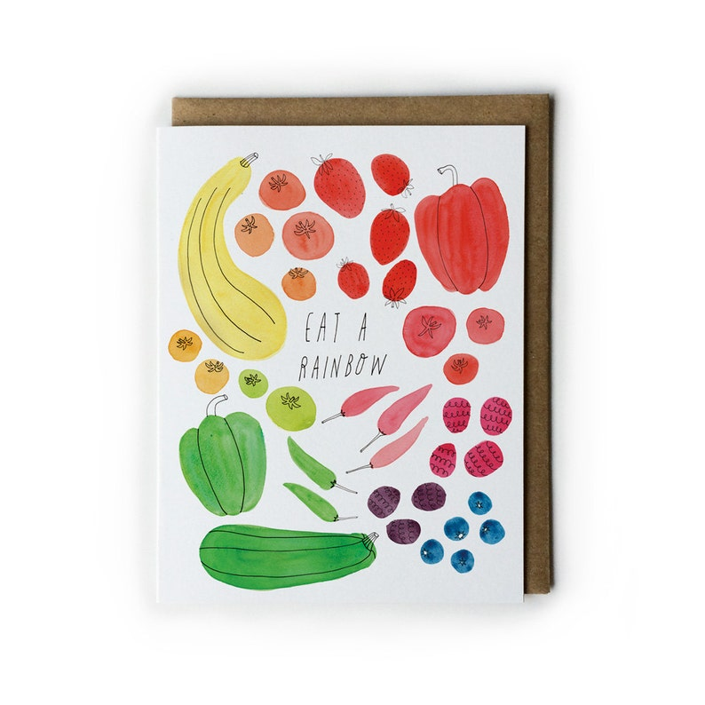 Watercolor Notecards Blank Eat a Rainbow Watercolor Greeting image 0