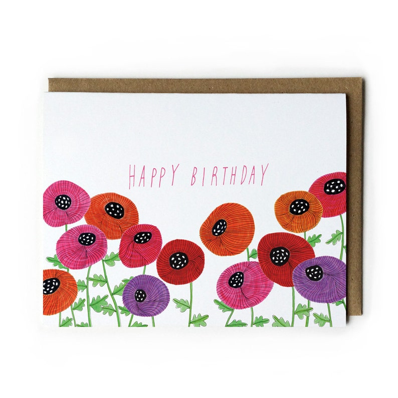 Birthday Card Flower Birthday Card Birthday Card for Her image 0