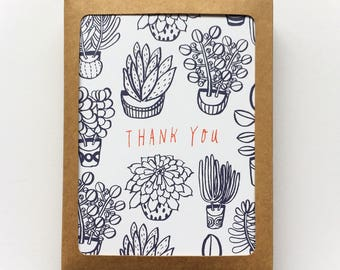 Set of 8 - Thank You Card Set, Succulents, Holiday Gift Idea, Succulent Line Drawing, Succulent Thank You Card, Blank Cards, Notecards