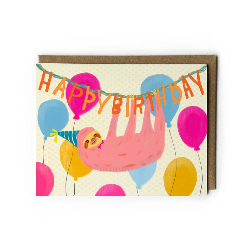Birthday Card Happy Birthday Cute Sloth Illustration image 0