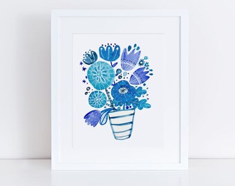 Watercolor Flower Painting, Flower Art Print, Blue Flower Painting, Something Blue Bouquet, Gift for Her, Housewarming Gift , Blue, 8x10,