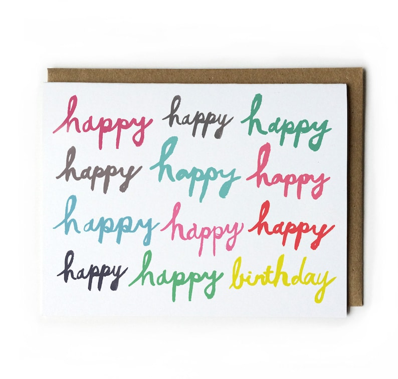 Happy Birthday Card Birthday Card for Friend Brush Lettering image 0
