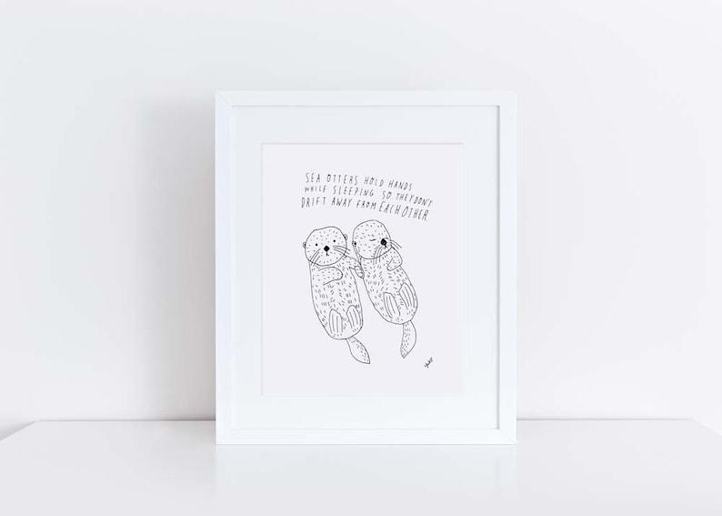 Sea Otter Art Print Wedding Gift Wedding Gift Idea image 0