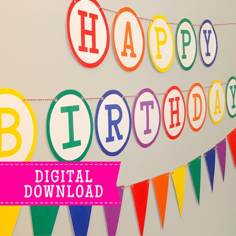 Instant Download RAINBOW Print at Home Birthday Party Decoration Banner Happy Birthday Printable Banner and Garland Rainbow