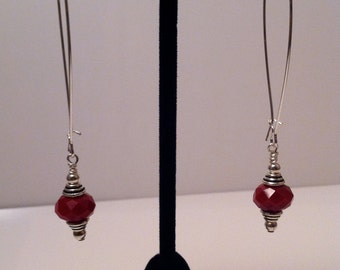 Red crystal and Sterling Silver drop earrings