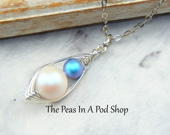 Mother And Son Handcrafted Peapod Necklace New Mother Gift Expectant Mother Baby Shower Gift