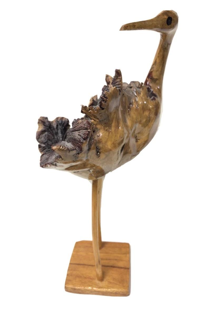Mid Century Hand Carved Burl Wood Stork Flamingo Duck Crane Animal Folk Art Sculpture