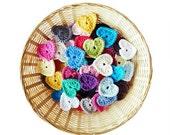 Crochet Hearts - Set of 15 (1.75 inch)