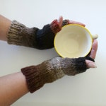 Woodland Brown Fingerless Gloves - Handknit - Wool Blend - Ready to Ship
