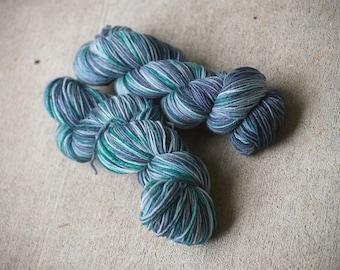 Blue Green Hand Dyed Sock Yarn