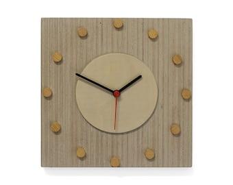 Grey clock with wooden discs